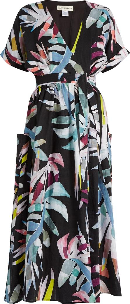 Mara Hoffman Xylophone Black-print linen wrap dress