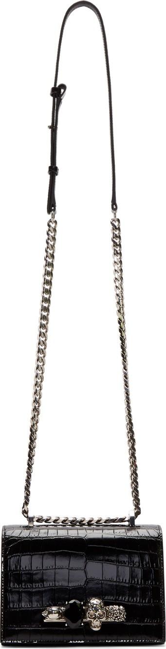 Alexander McQueen Black Croc Small Jewelled Satchel