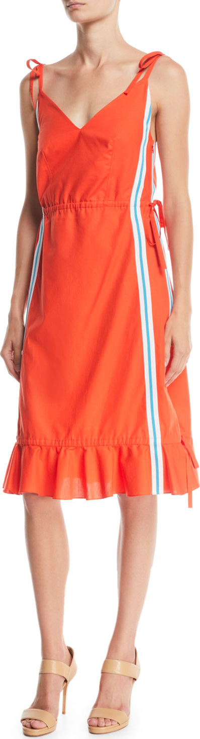 KENZO Sleeveless Side-Stripe Flounce Dress
