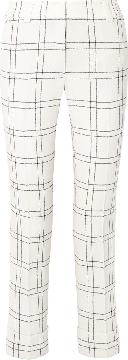 Akris Maxima checked stretch wool and cotton-blend crepe straight-leg pants