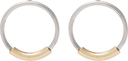 Chloe Silver hoops with logo-engraved gold bar