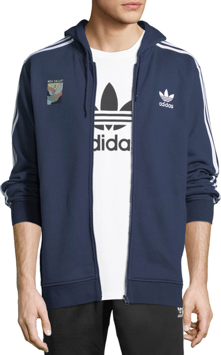 Adidas Zip-Front Hooded Track Jacket, Navy
