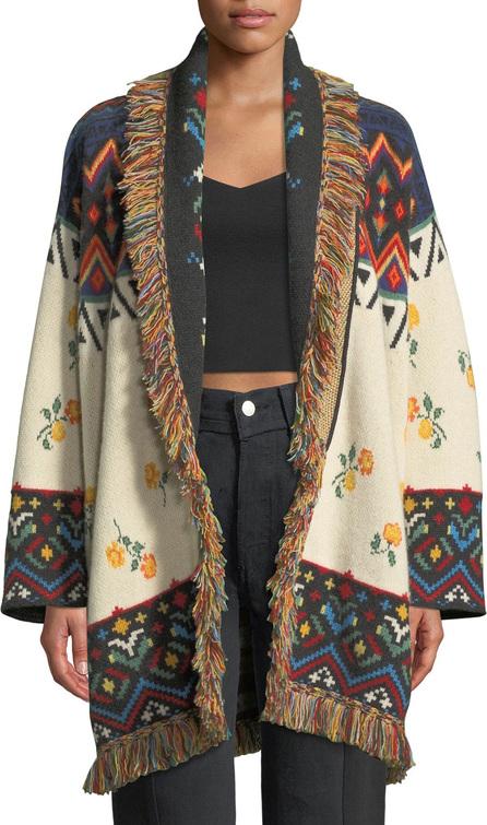 Alanui Greenland Self-Belt Floral-Intarsia Cashmere Cardigan w/ Fringe
