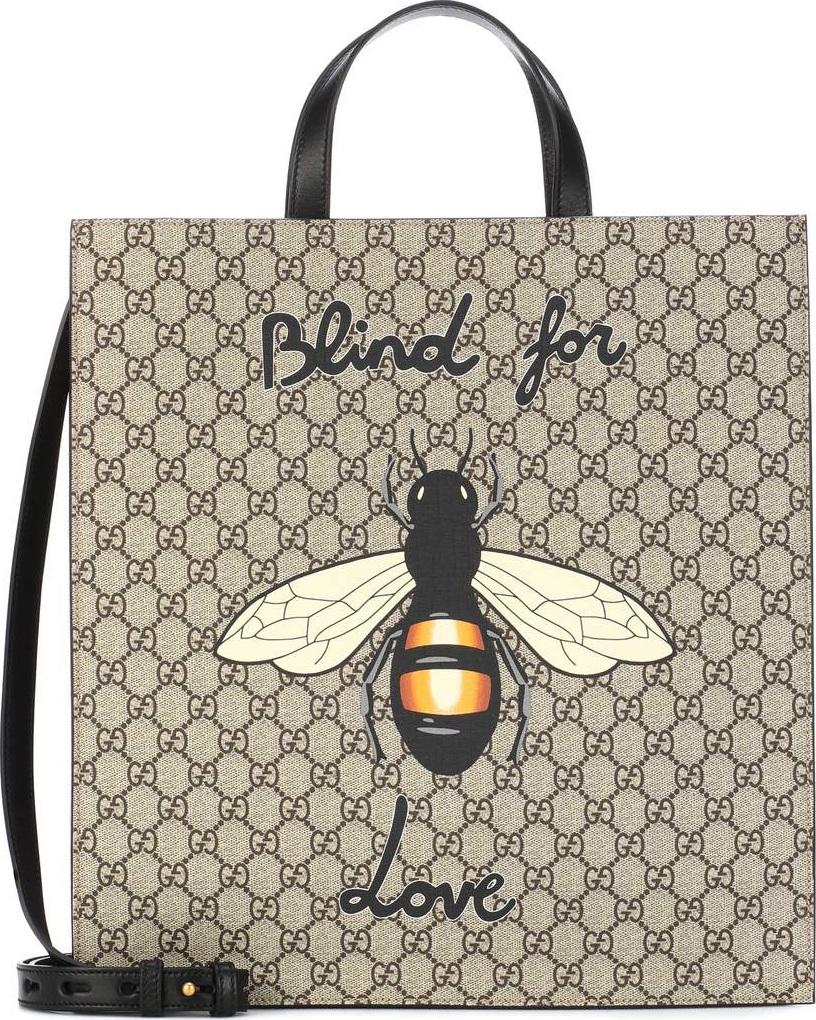 Gucci - Bee printed GG Supreme tote