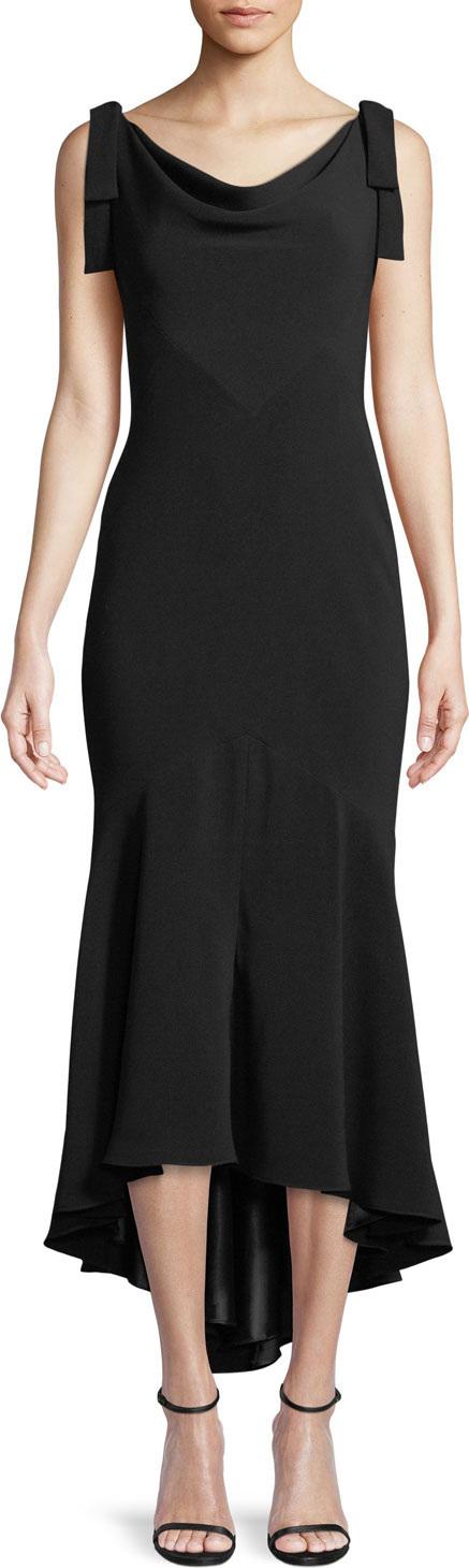 Carmen Marc Valvo Tie-Shoulder High-Low Midi Dress