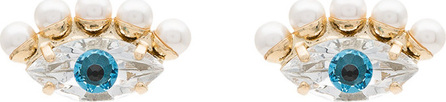 Anton Heunis Gold plated Swarovski crystal pearl eye earrings