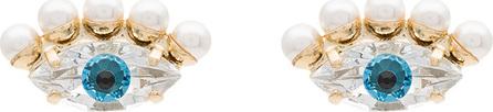 Anton Heunis Gold plated Swarovski crystal pearl eye earrings