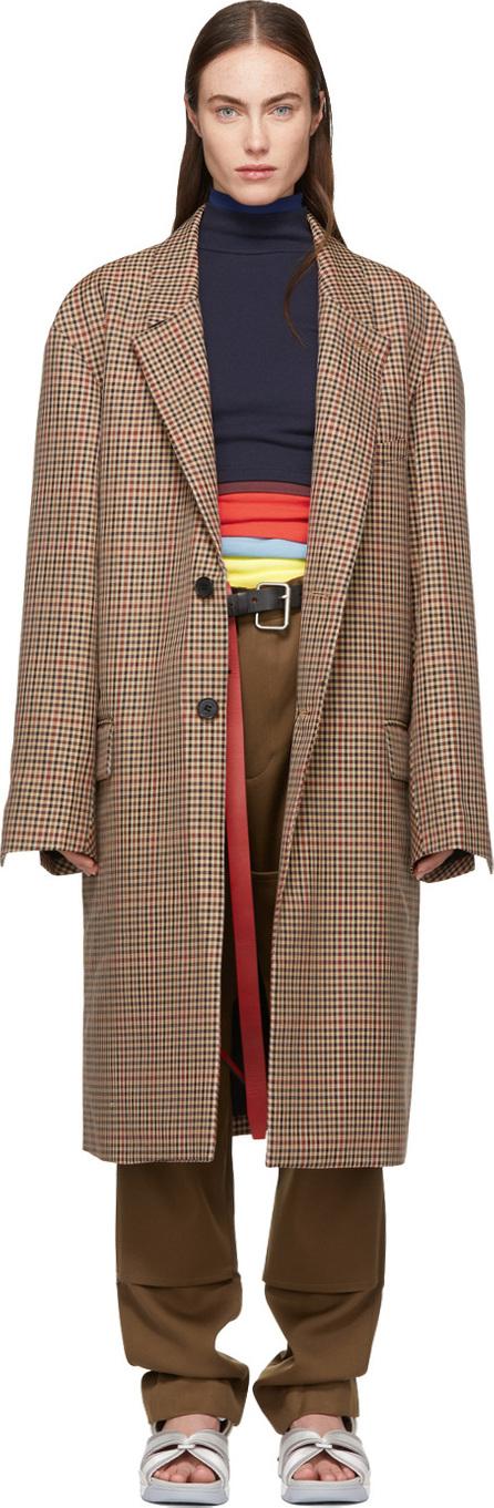 Ambush Beige Long Check Suit Coat