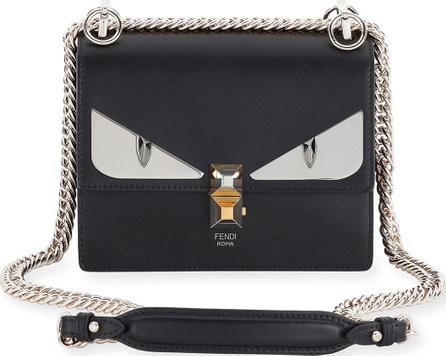 Fendi Kan I Monster Mini Leather Shoulder Bag, Black
