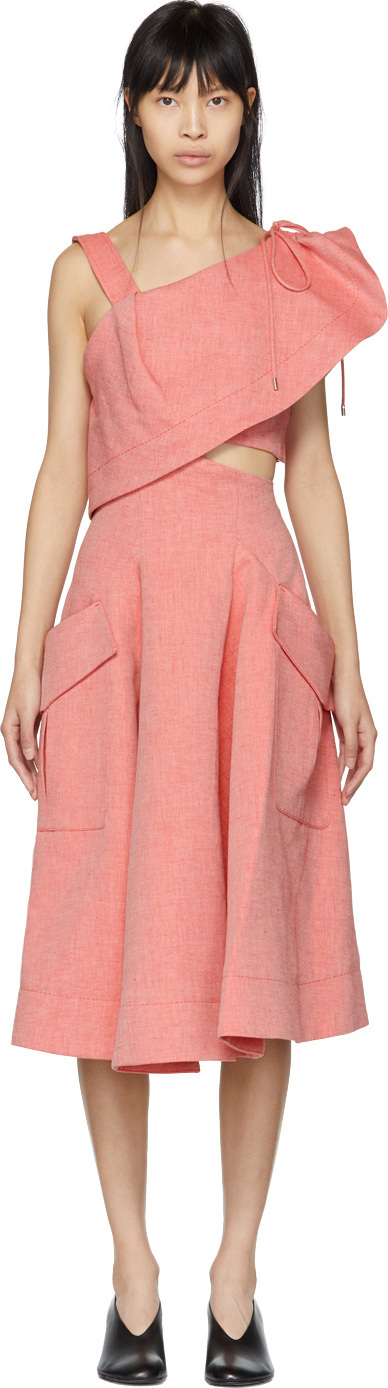 Carven Red Twill Cut-Out Dress