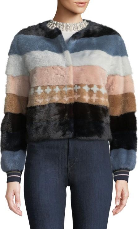 Belle Fare Striped Mink Fur Baseball Jacket