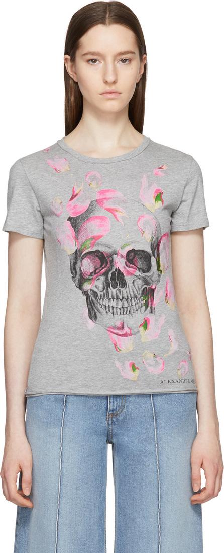 Alexander McQueen Grey Petal & Skull T-Shirt