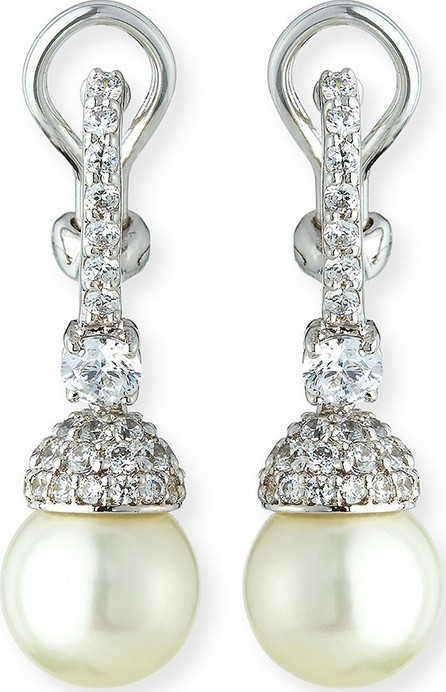 Fantasia by DeSerio Pave Capped Pearly Drop Earrings