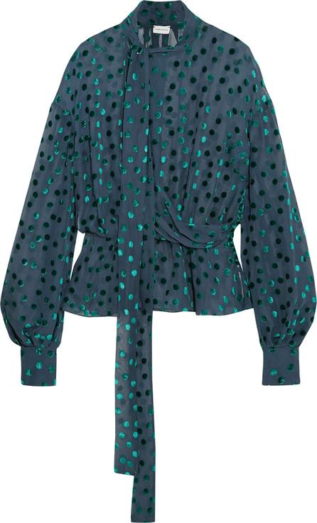 Magda Butrym Cali pussy-bow flocked silk-blend chiffon blouse