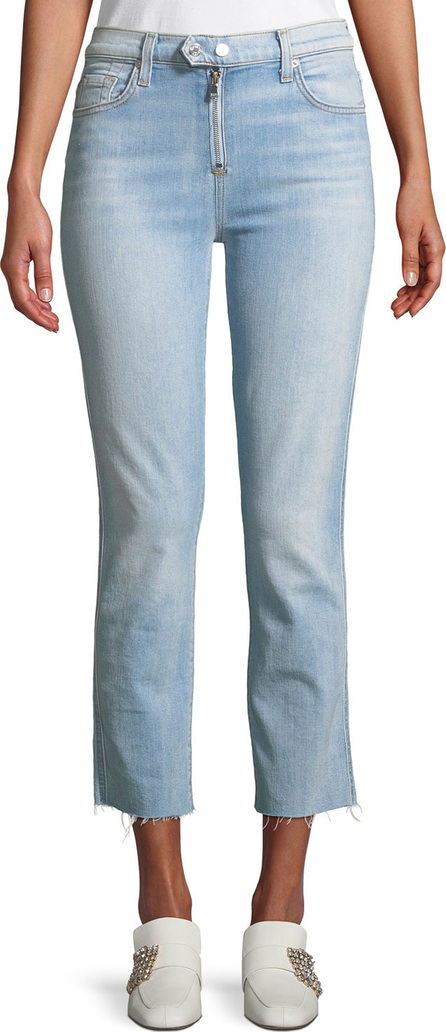 7 For All Mankind Edie Straight-Leg Raw-Edge Jeans w/ Exposed Zipper