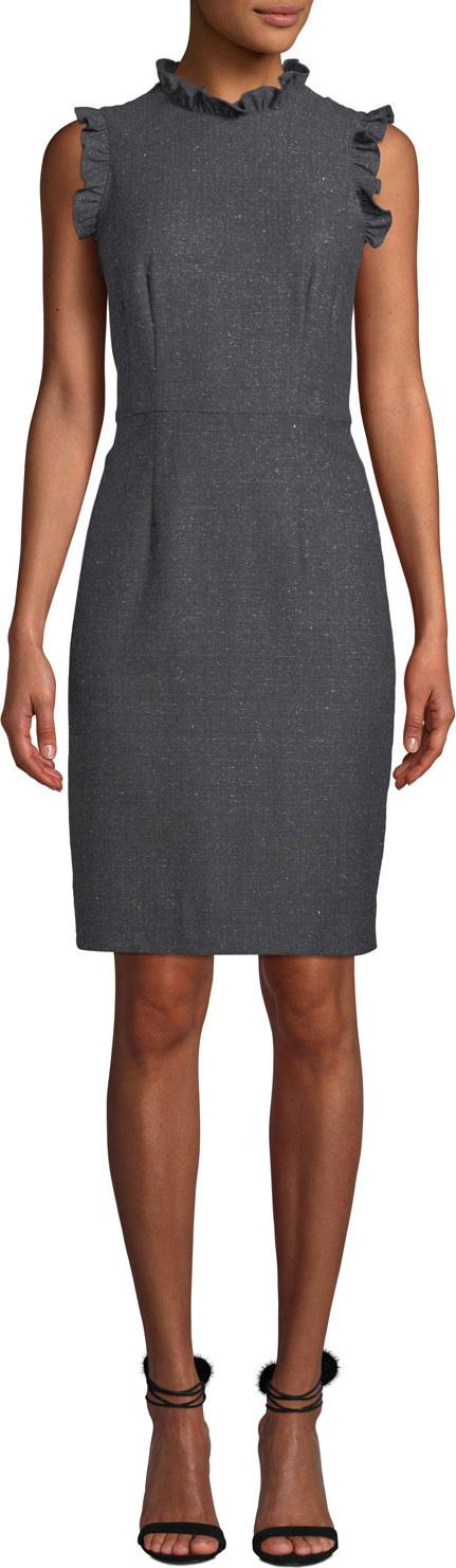 Rebecca Taylor Sleeveless Ruffle Herringbone Sheath  Dress