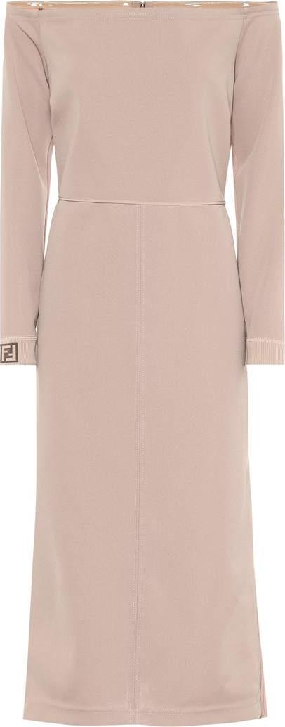 Fendi Off-the-shoulder crêpe midi dress