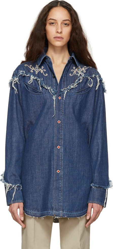 Alanui Blue Embroidered Denim Shirt