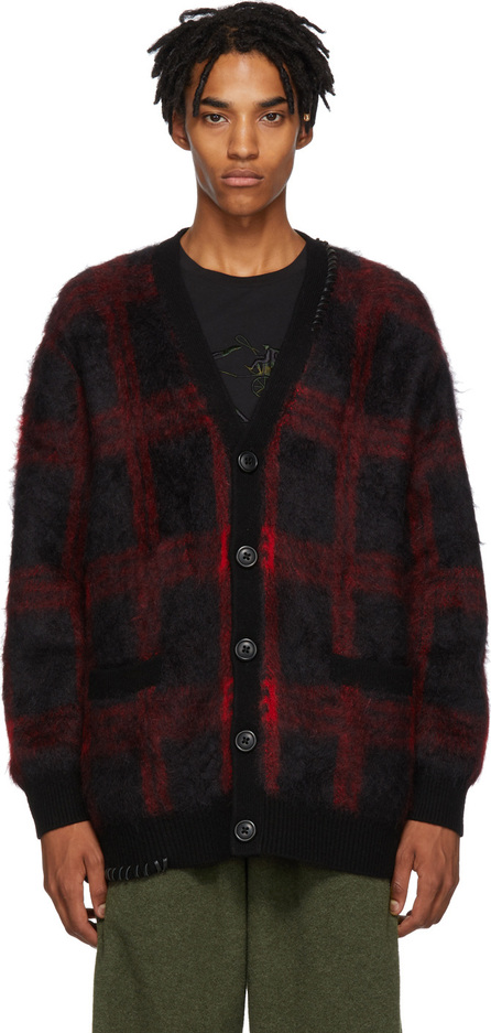COACH 1941 Black & Red Mohair Plaid Cardigan