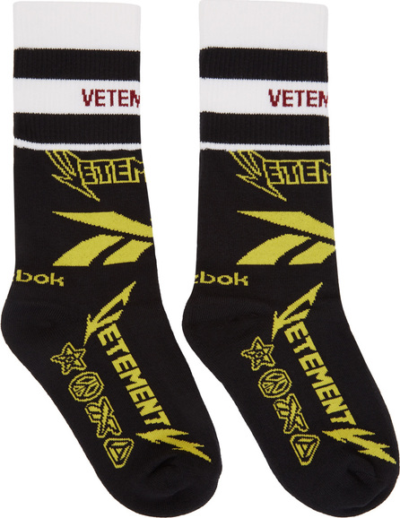 Vetements Black Reebok Edition Metal Logo Socks