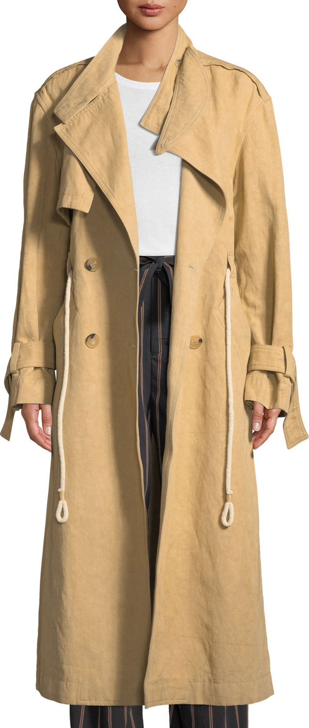Vince - Long Linen/Cotton Drawstring Trench Coat