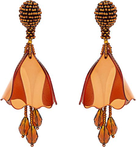Oscar De La Renta Mini Impatiens clip-on earrings