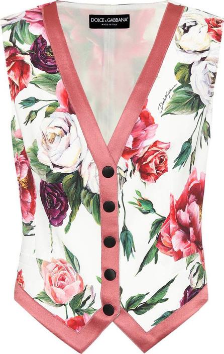 Dolce & Gabbana Floral-printed silk-blend vest