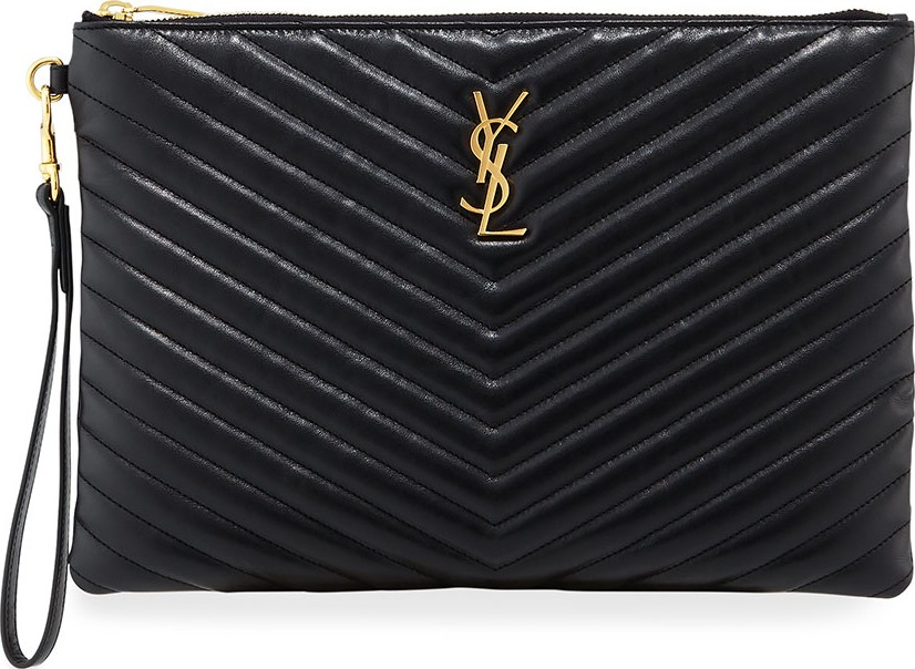 b4c24aafbe Saint Laurent Monogram YSL Quilted Wristlet Pouch Bag - Mkt