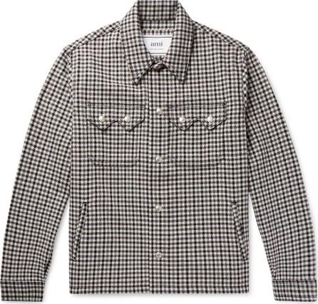 AMI Houndstooth Wool-Blend Trucker Jacket