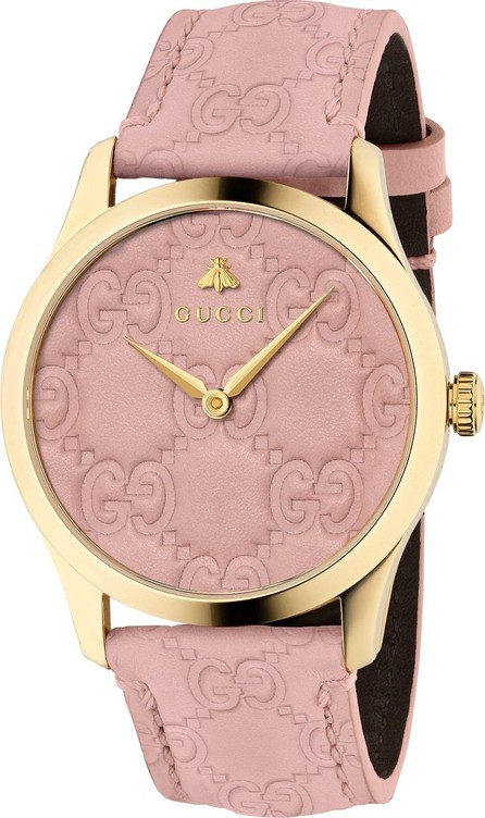 Gucci 38mm G-Timeless Logo Leather Watch, Pink