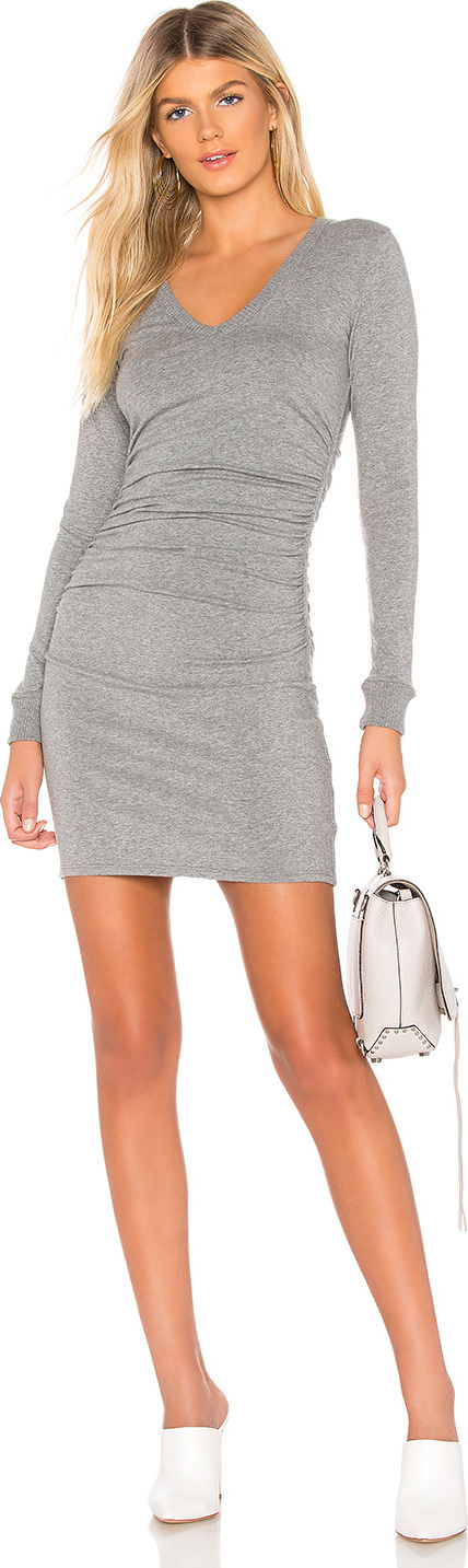 ENZA COSTA Cashmere V Neck Ruched Dress