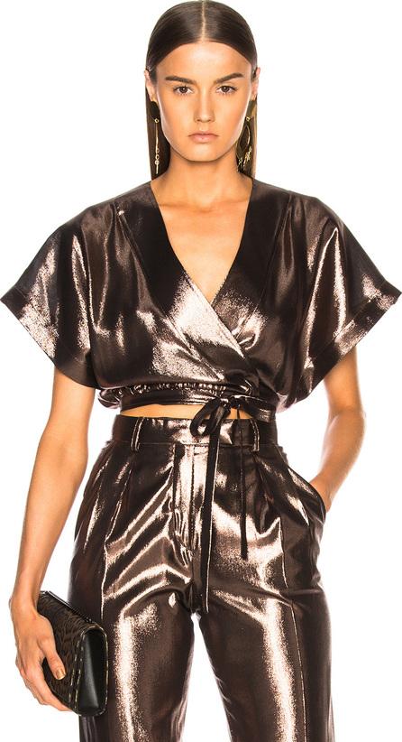 Alberta Ferretti Metallic Wrap Blouse