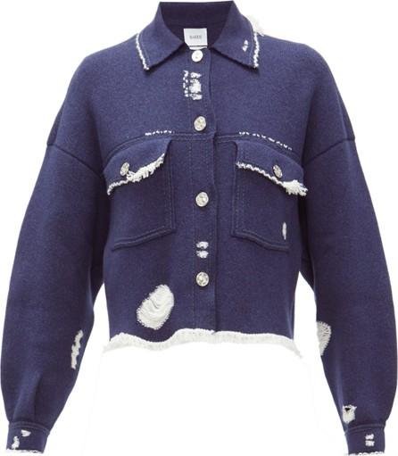Barrie Distressed denim-effect cashmere-blend jacket