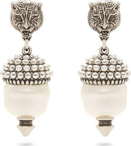 Gucci Feline faux-pearl clip-on earrings