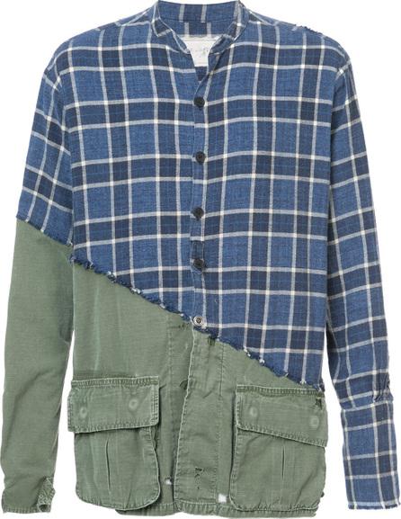 Greg Lauren Checked panel shirt