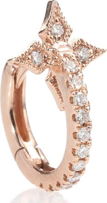 Stone Paris Tiny Hoop With A Cross 18kt rose gold and diamond earring