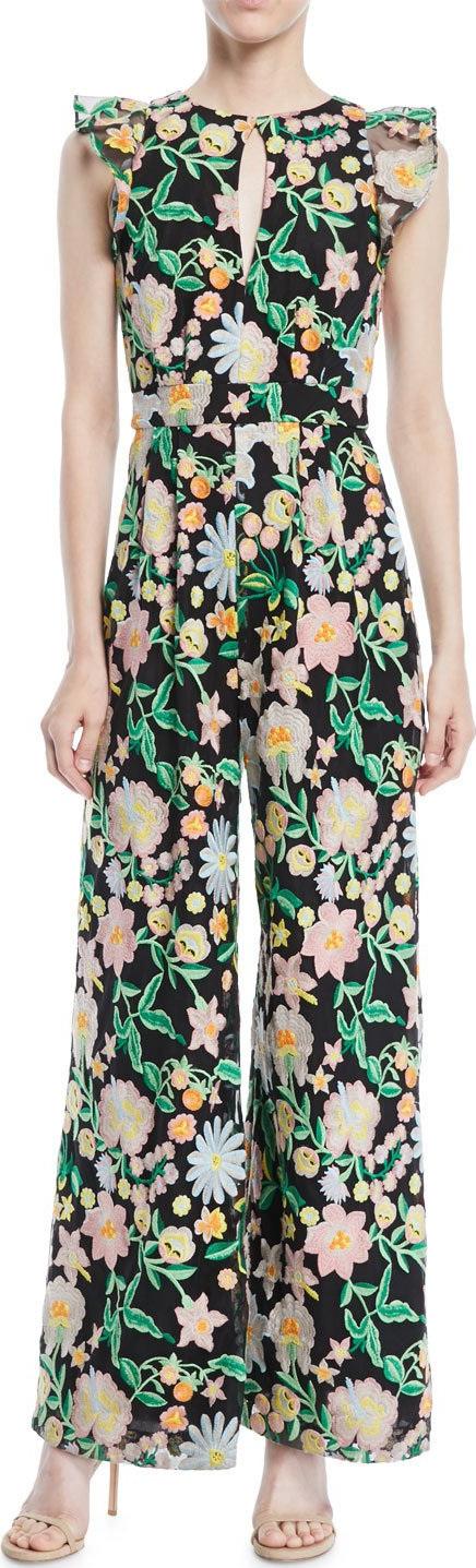 ML Monique Lhuillier Floral Jumpsuit w/ Keyhole Front & Flounce Sleeves