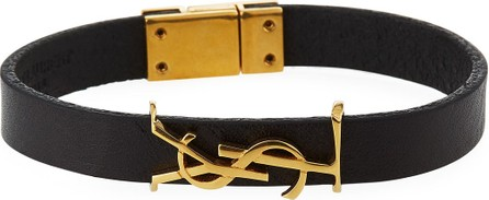 Saint Laurent Leather YSL Monogram Bracelet  Black/Gold