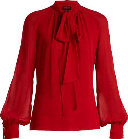 Giambattista Valli Tie-neck silk-georgette blouse