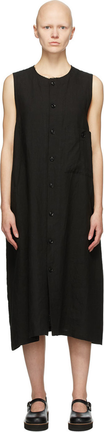 Y's By Yohji Yamamoto Black Linen Pocket Mid-Length Dress