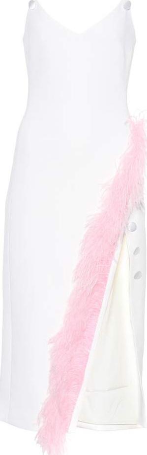 David Koma Cady-crêpe feather-trimmed dress