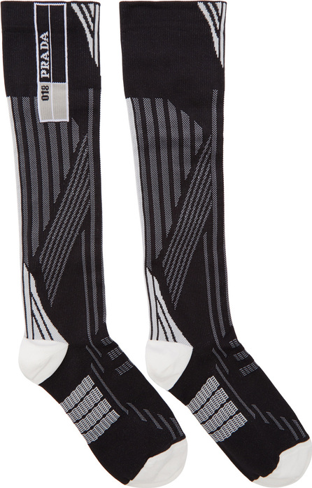 Prada White & Black Logo Socks