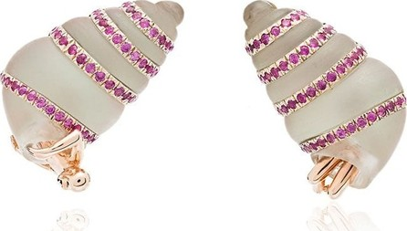 Bibi Van Der Velden 18K Man in Shell gold and sapphire earrings
