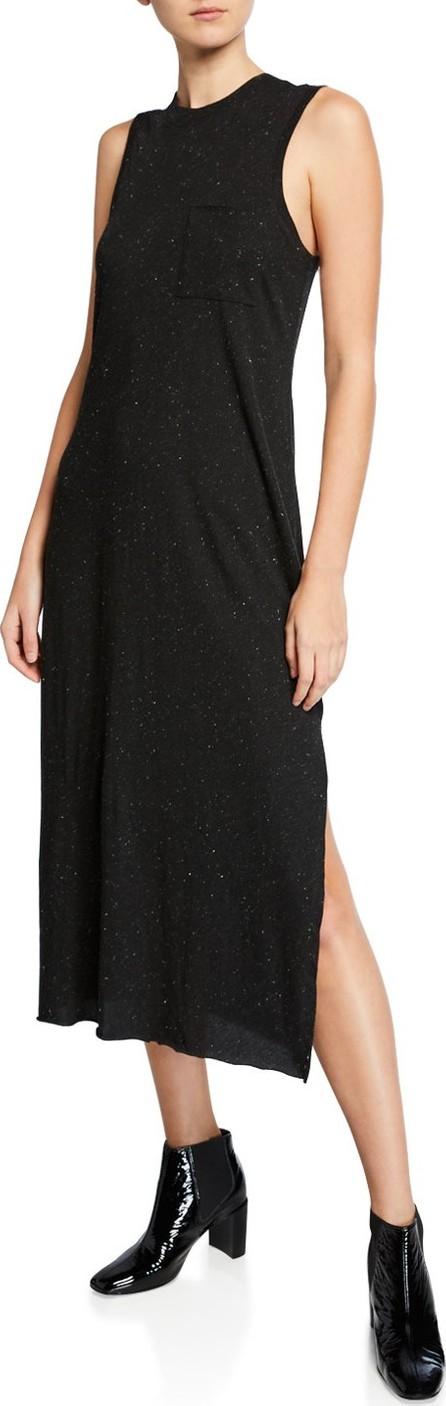 ATM Anthony Thomas Melillo Speckled Sleeveless Side-Split Maxi Dress w/ Pocket