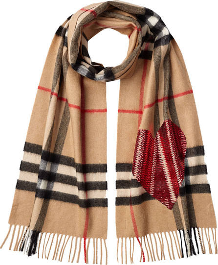 Burberry London England Checked Cashmere Scarf  with Heart Embellishment