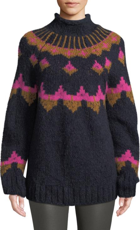 A.L.C. Shapiro Mock-Neck Intarsia Wool-Blend Sweater