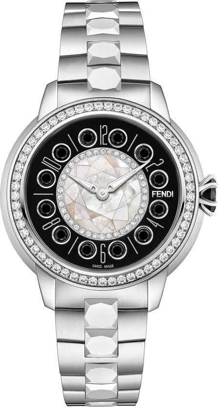 Fendi 33mm IShine Stainless Steel Bracelet Watch w/ Diamond Bezel