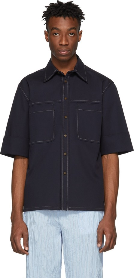 3.1 Phillip Lim Navy Wide Cuff Boxy Shirt