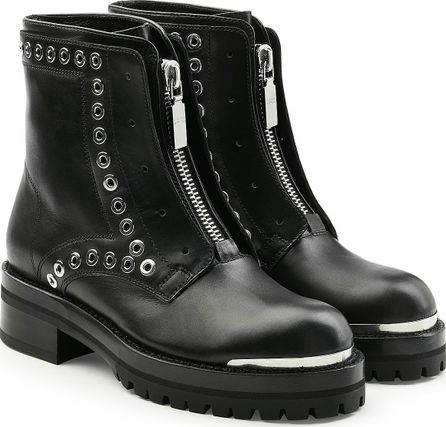 Alexander McQueen Stud Flat Embellished Leather Ankle Boots