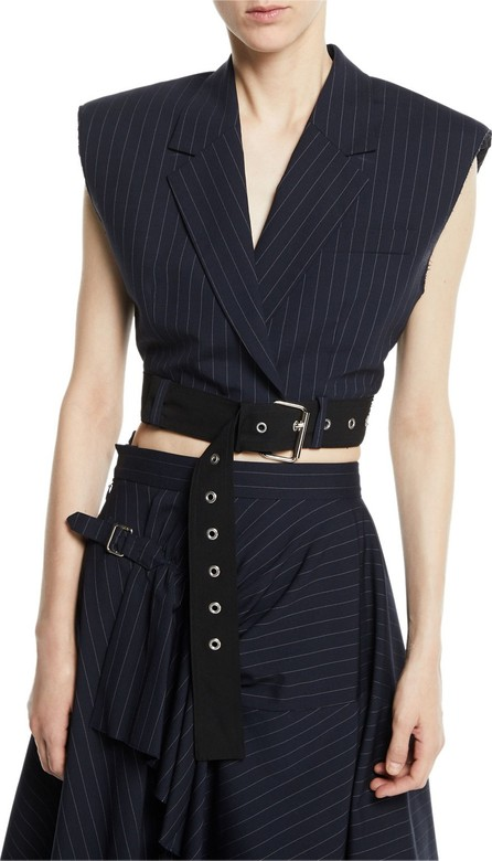 3.1 Phillip Lim Cropped Pinstripe Vest with Sculpted Shoulders & Belt